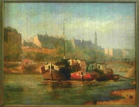 boote am ufer der seine in paris by gustav naas