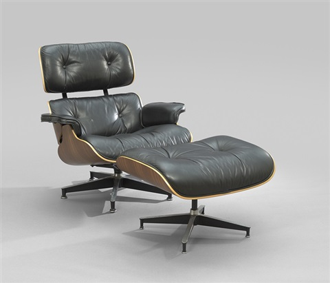 Laminated Walnut And Leather Lounge Chair And Ottoman By Charles Eames
