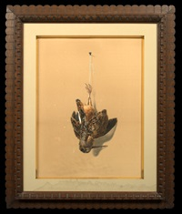 nature morte: a hanging snipe by achille perelli