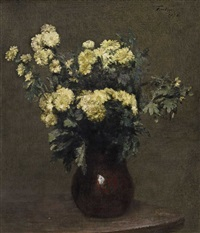crysanthemums in a earthen vase by henri fantin-latour