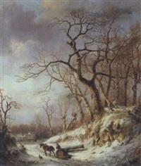 winterlandschaft mit heimkehrendem holzfäller auf einem pferdeschlitten by albert eduard moerman