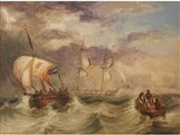 three vessels in choppy seas by charles bentley
