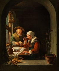 altes ehepaar am tisch by frans van mieris
