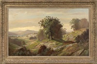 a panoramic autumnal landscape with a herder on a mountain path by henry w. kemper