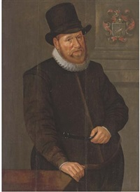 portrait of a gentleman in a black costume with a white ruff, by a table by peter wtewael