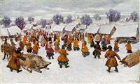 scene of life outside a snow-covered village in relation to a feast by sergei vasilievich ivanov