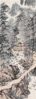a pavillion in bamboo forest by guan shangyue
