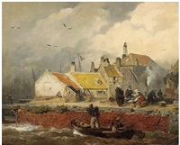 a dutch coastal scene with fisher's cottages by andreas achenbach