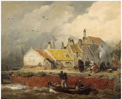 a dutch coastal scene with fishers cottages by andreas achenbach