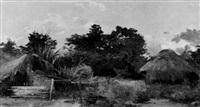 afrikanische landschaft mit den hütten eines lagers by ferdinand lindner