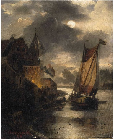 a view of a dutch coastal town and a sailing boat by moonlight by andreas achenbach