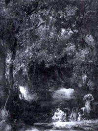 flußlauf mit frauen und kinder beim baden by eduard karl biermann