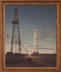 oil rigs in a field at night by arthur weaver
