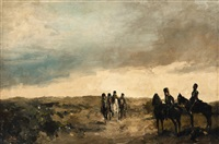 cavalry men maneuvering in the dunes by george hendrik breitner