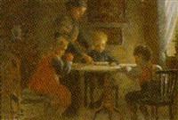 interior med familie ved bordet by valdemar holger v. rasmussen magaard