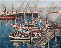 dhows in harbour by george william pilkington