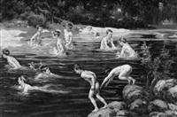 eine gruppe badender jungen am fluß by alvarez primitivo armesto