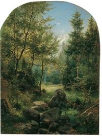 bewaldete mittelgebirgslandschaft, vermutlich in der sächsischen schweiz by eduard emil august leonhardi