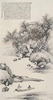 渊明词意图 (landscape) by da shou