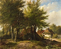 landscape with a farmhouse by johannes hermanus barend koekkoek