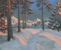 winter landscape by mikhail markianovich germanshev
