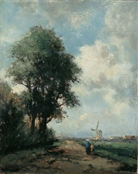 holländische landschaft mit windmühle und zwei personen auf einem weg by jan van der linde