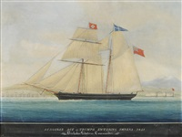 schooner, ace of trumps, entering smyrna, 1851, nicholas lidstone, commander by raffaele corsini