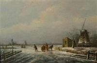 winterlandschap met voorbijgangers by andreas schelfhout
