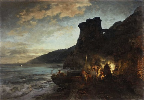 the torre de asturnu by night by oswald achenbach