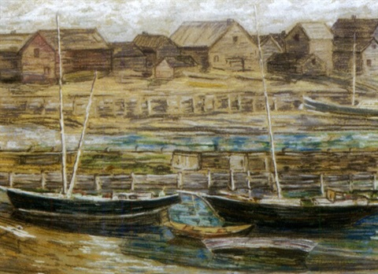 gloucester harbor scene by charles salis kaelin