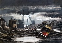 derelict crane and shipyard by charles oakley