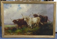 highland cattle beside a stream by william r.c. watson
