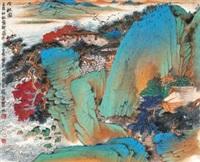 吟秋图 (landscape) by qi enjin