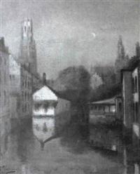 abend in einer holländischen stadt by e. van camps