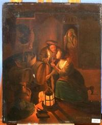 wijnproeverij bij kaarslicht by gerrit arnoldus van merkesteijn