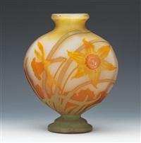 art nouveau heart shape vase with tapered neck by émile gallé