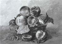 stilleben mit pfirsichen in weidenkorb by emile modeste nicolas vaquez