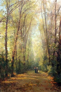 ladies and child on a tree-lined path by alfredo keil