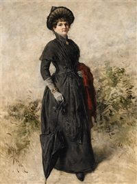 portrait of a lady in a black dress by emmanuel spitzer