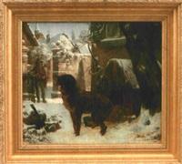 winter im dorf mit hund vor seiner hundehütte by ernst bosch