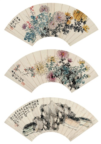 菖蒲山石 rock and chrysanthemum set of 3 by deng tiexian