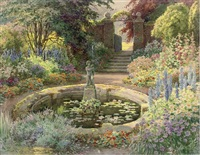 summer bloom around the fountain (+ the secret garden; pair) by ernest william haslehurst