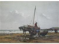 nr scarbro; landing fish, scarbro (pair) by george hamilton constantine