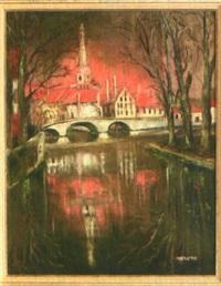 ansicht von brügge am abend mit blick auf die liebfrauenkirche by verone
