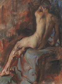 nude studies and portrait of a gentleman (3 works) by victor hume moody