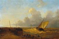 auslaufende segelboote bei stürmischer see by adrianus david hilleveld