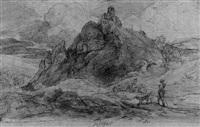 böhmische landschaft mit hochgelegener ruine und einem jäger by ernst hasse