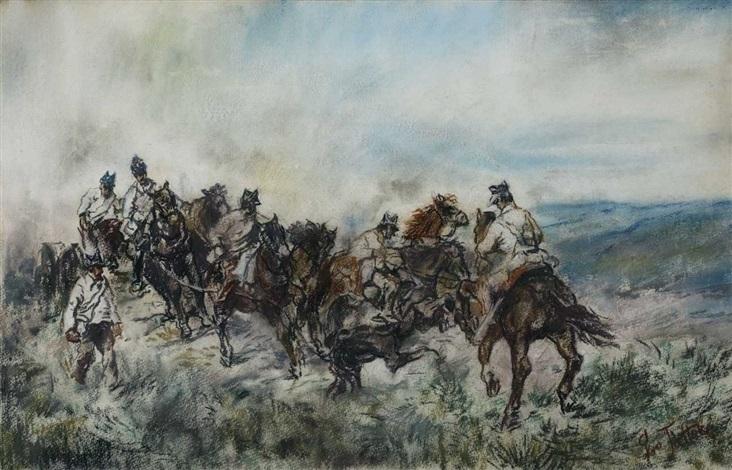 artillerymen on the field by giovanni fattori