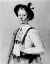 portrait des abi chaveroy in tiroler tracht by frieda menshausen-labriola