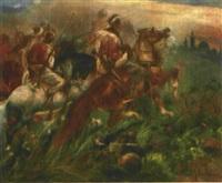 wild reitende, bewaffnete beduinen, am horizont die silhouette einer orientalischen stadt by heinrich maria staackmann